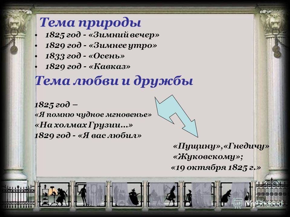 Тема природы 1825 год - «Зимний вечер» 1829 год - «Зимнее утро» 1833 год - «Осень» 1829 год - «Кавказ» Тема любви и дружбы 1825 год – «Я помню чудное мгновенье» «На холмах Грузии…» 1829 год - «Я вас любил» «Пущину»,«Гнедичу» «Жуковскому»; «19 октября