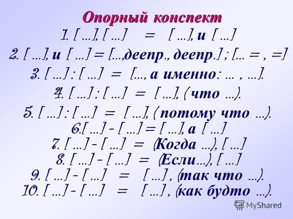 1. [ …], [ …] = [ …], и [ …] 2. [ …], и [ …] = […, деепр., деепр.] ; [… =, =] 3. [ …] : [ …] = […, а именно : …, …]. 4. [ …] : [ …] = [ …], ( что …). 5. [ …] : [ …] = [ …], ( потому что …). 6.[ …] - [ …] = [ …], а [ …] 7. [ …] - [ …] = ( Когда …), [