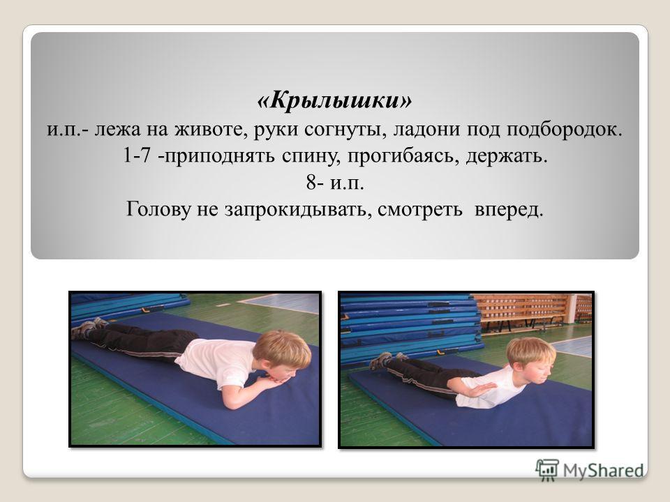 «Крылышки» и.п.- лежа на животе, руки согнуты, ладони под подбородок. 1-7 -приподнять спину, прогибаясь, держать. 8- и.п. Голову не запрокидывать, смотреть вперед.