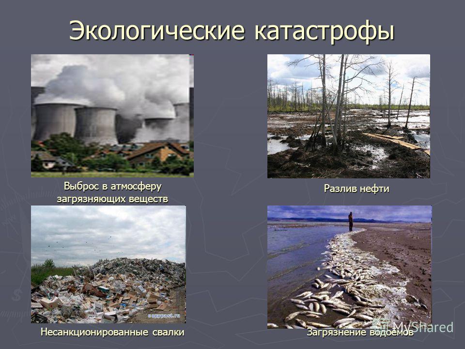 Экологические катастрофы Выброс в атмосферу загрязняющих веществ Разлив нефти Несанкционированные свалкиЗагрязнение водоёмов