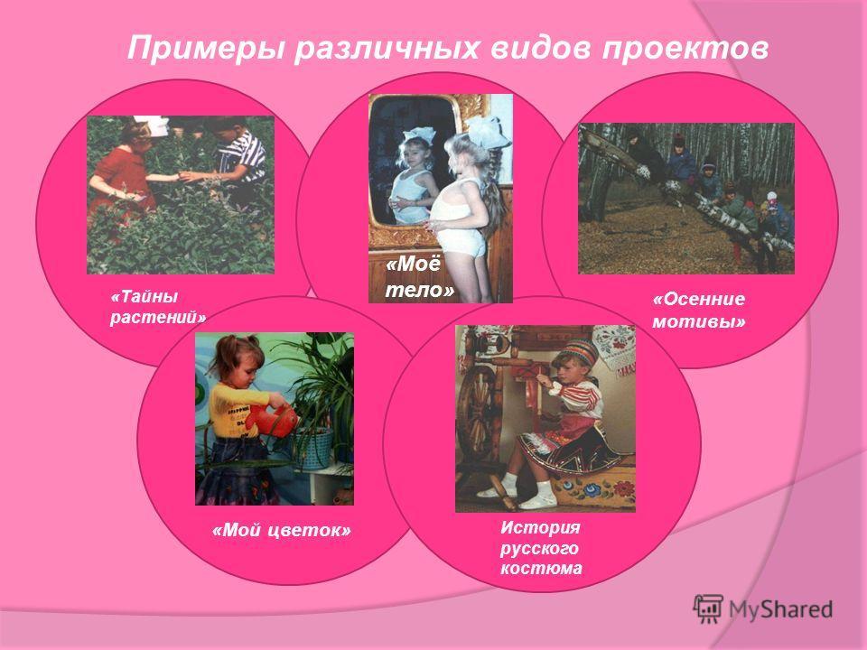 Примеры различных видов проектов История русского костюма «Тайны растений» «Осенние мотивы» «Мой цветок» «Моё тело»
