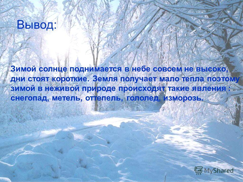Вывод: Зимой солнце поднимается в небе совсем не высоко, дни стоят короткие. Земля получает мало тепла поэтому зимой в неживой природе происходят такие явления : снегопад, метель, оттепель, гололед, изморозь.