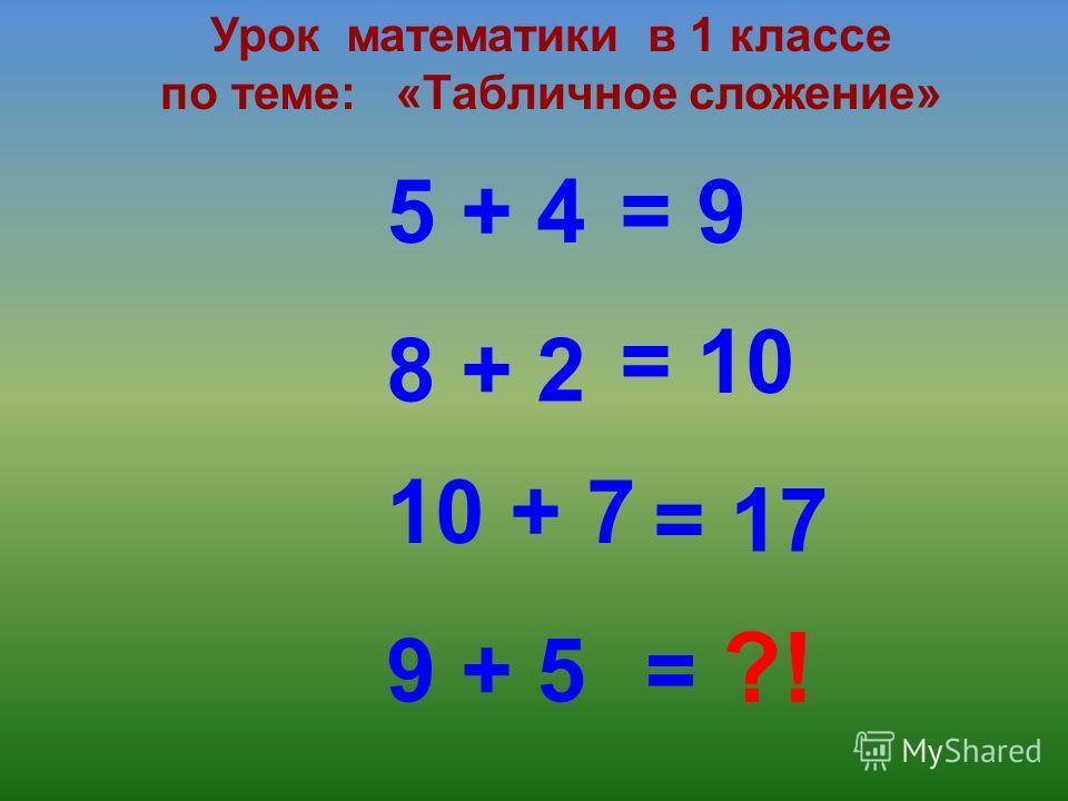 5 + 4 Урок математики в 1 классе по теме: «Табличное сложение» 8 + 2 10 + 7 9 + 5 = 9 = 10 = 17 = ?!