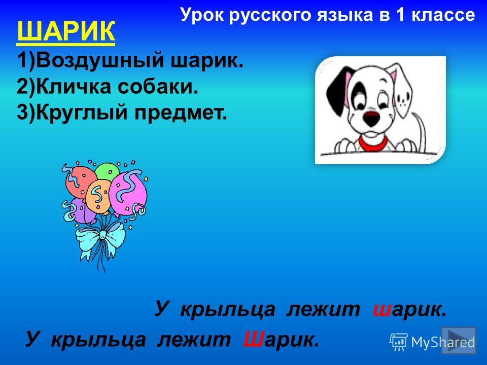 ШАРИК 1)Воздушный шарик. 2)Кличка собаки. 3)Круглый предмет. У крыльца лежит шарик. У крыльца лежит Шарик. Урок русского языка в 1 классе