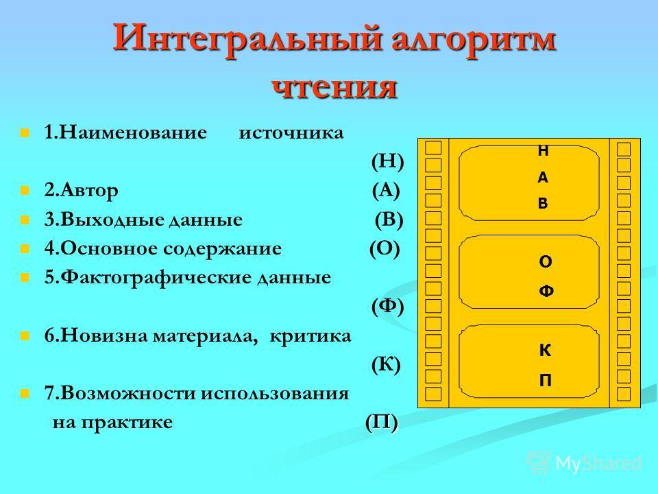 Интегральный алгоритм чтения 1.Наименование источника (Н) 2.Автор (А) 3.Выходные данные (В) 4.Основное содержание (О) 5.Фактографические данные (Ф) 6.Новизна материала, критика (К) 7.Возможности использования (П) на практике (П) Н А В О Ф К П