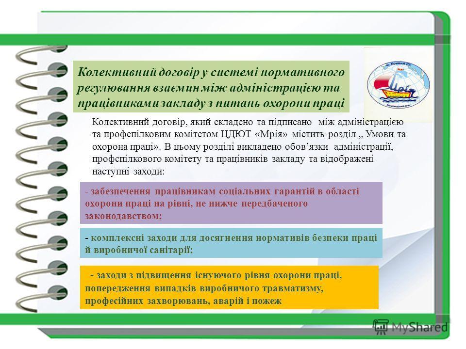 Колективний договір у системі нормативного регулювання взаємин між адміністрацією та працівниками закладу з питань охорони праці Колективний договір, який складено та підписано між адміністрацією та профспілковим комітетом ЦДЮТ «Мрія» містить розділ