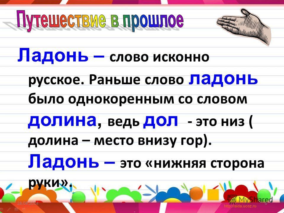 Ладонь – с лово исконно русское. Раньше слово ладонь было однокоренным со словом долина, в едь дол - это низ ( долина – место внизу гор). Ладонь – э то «нижняя сторона руки». 6