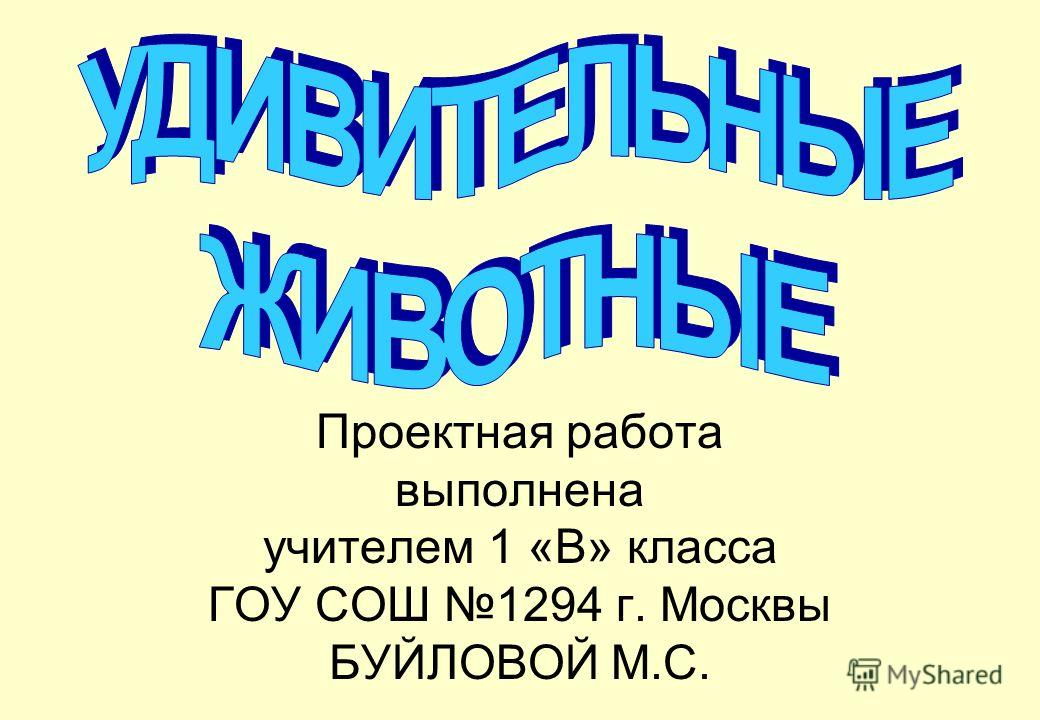 Проектная работа выполнена учителем 1 «В» класса ГОУ СОШ 1294 г. Москвы БУЙЛОВОЙ М.С.