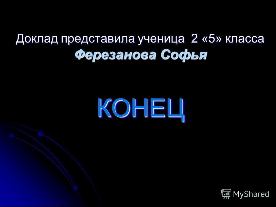 КОНЕЦКОНЕЦ Доклад представила ученица 2 «5» класса Ферезанова Софья