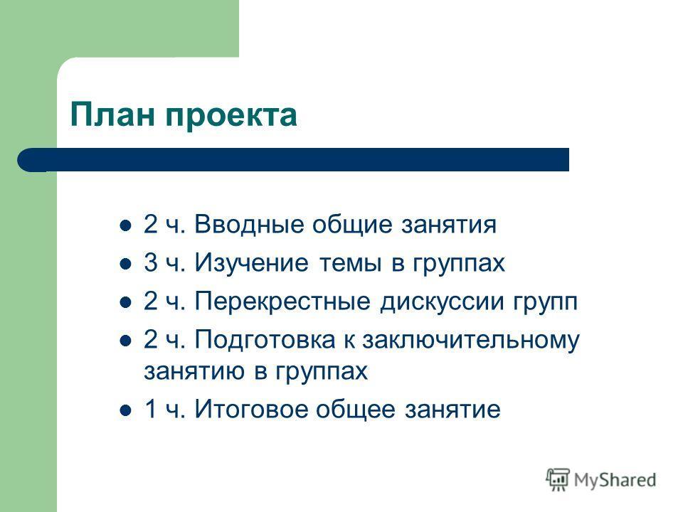 План проекта 2 ч. Вводные общие занятия 3 ч. Изучение темы в группах 2 ч. Перекрестные дискуссии групп 2 ч. Подготовка к заключительному занятию в группах 1 ч. Итоговое общее занятие