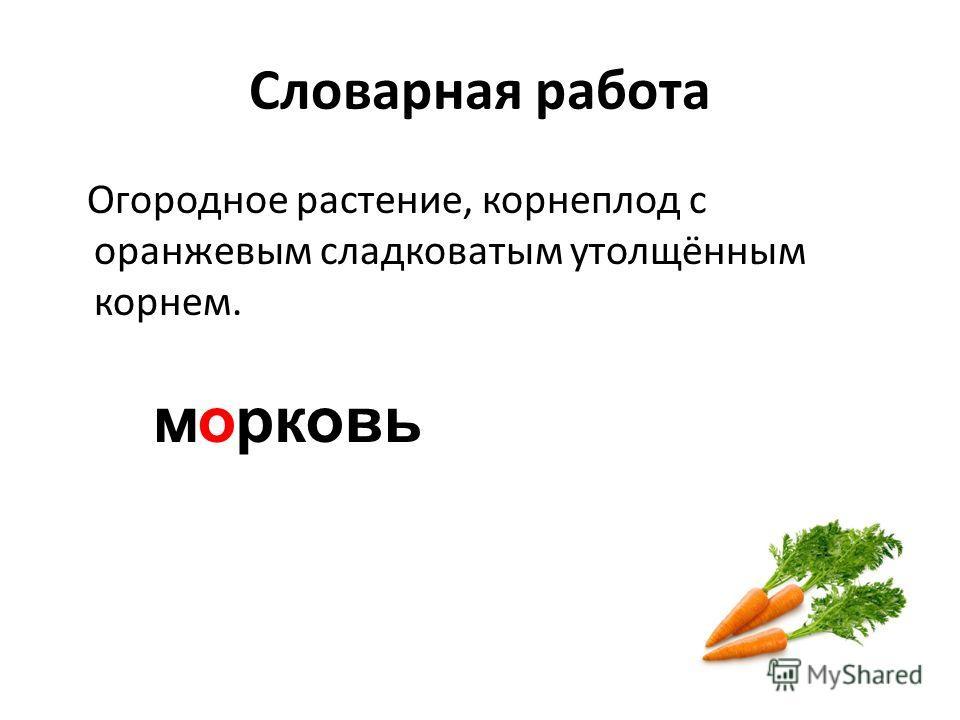 Словарная работа Огородное растение, корнеплод с оранжевым сладковатым утолщённым корнем. м рковьо
