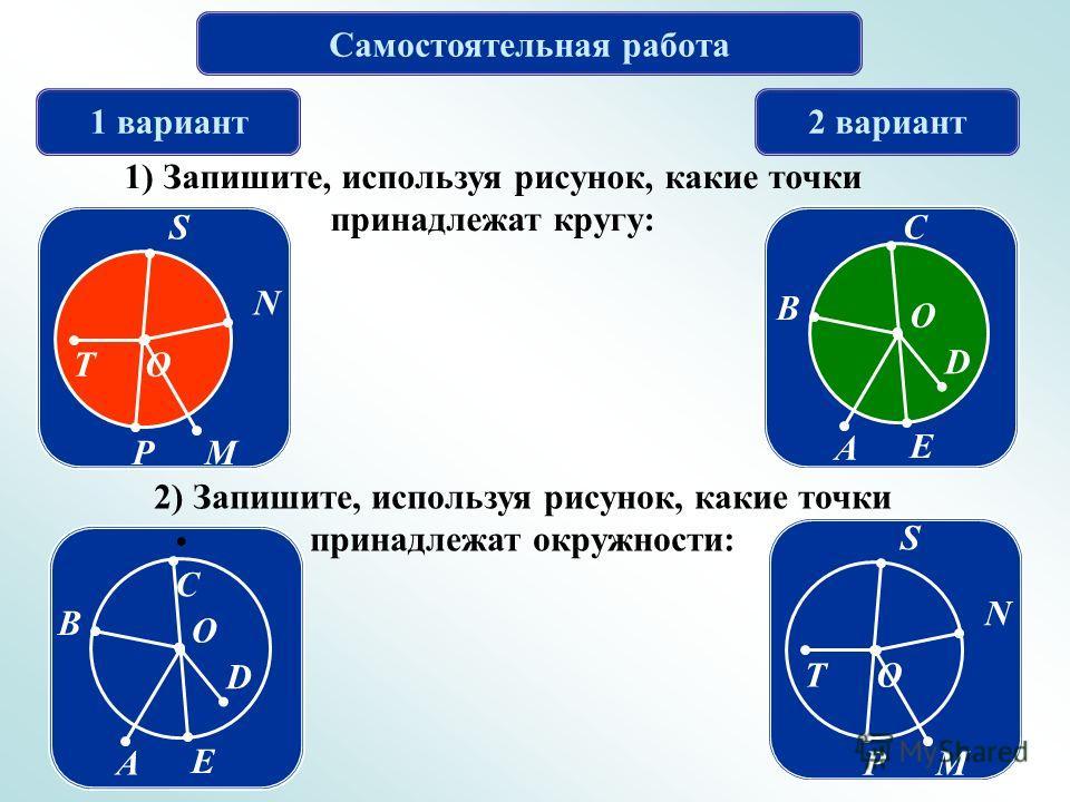 Самостоятельная работа 1 вариант2 вариант 1) Запишите, используя рисунок, какие точки принадлежат кругу: M N S T P O E D C B A O 2) Запишите, используя рисунок, какие точки принадлежат окружности: E D C B A O M N S T P O