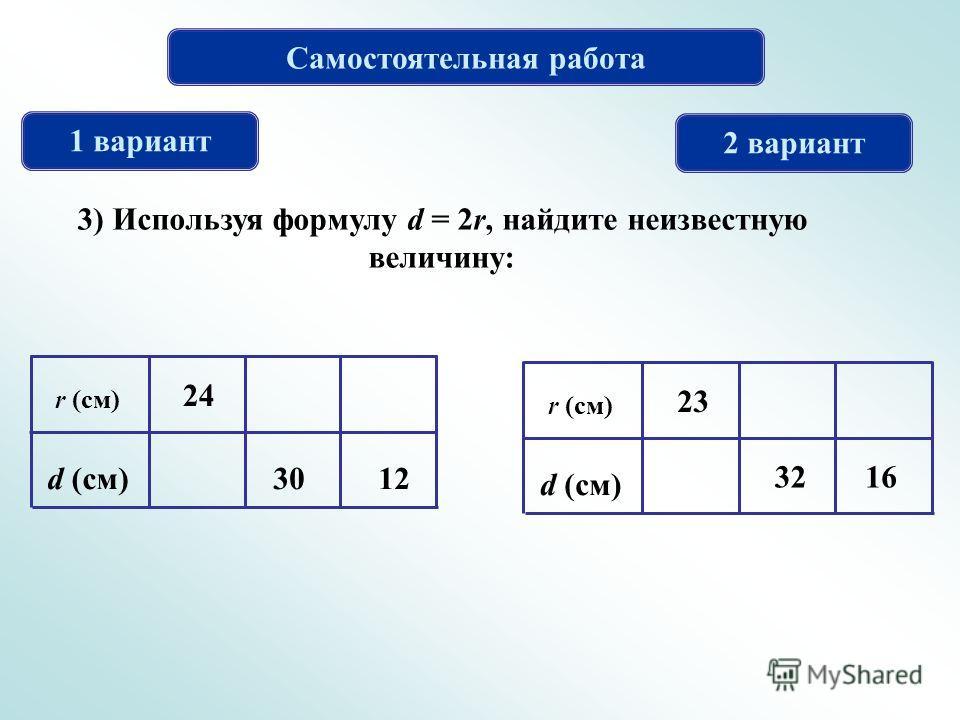 Самостоятельная работа 1 вариант 2 вариант 3) Используя формулу d = 2r, найдите неизвестную величину: r (см) d (см)12 24 30 r (см) d (см) 32 23 16