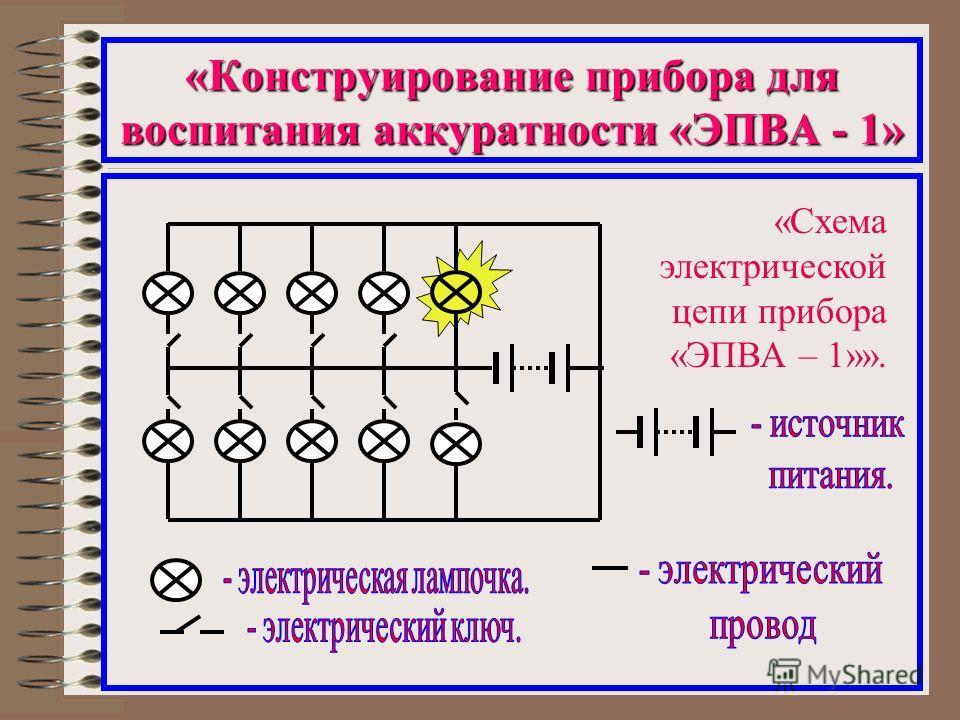 «Конструирование прибора для воспитания аккуратности «ЭПВА - 1» «Схема электрической цепи прибора «ЭПВА – 1»».