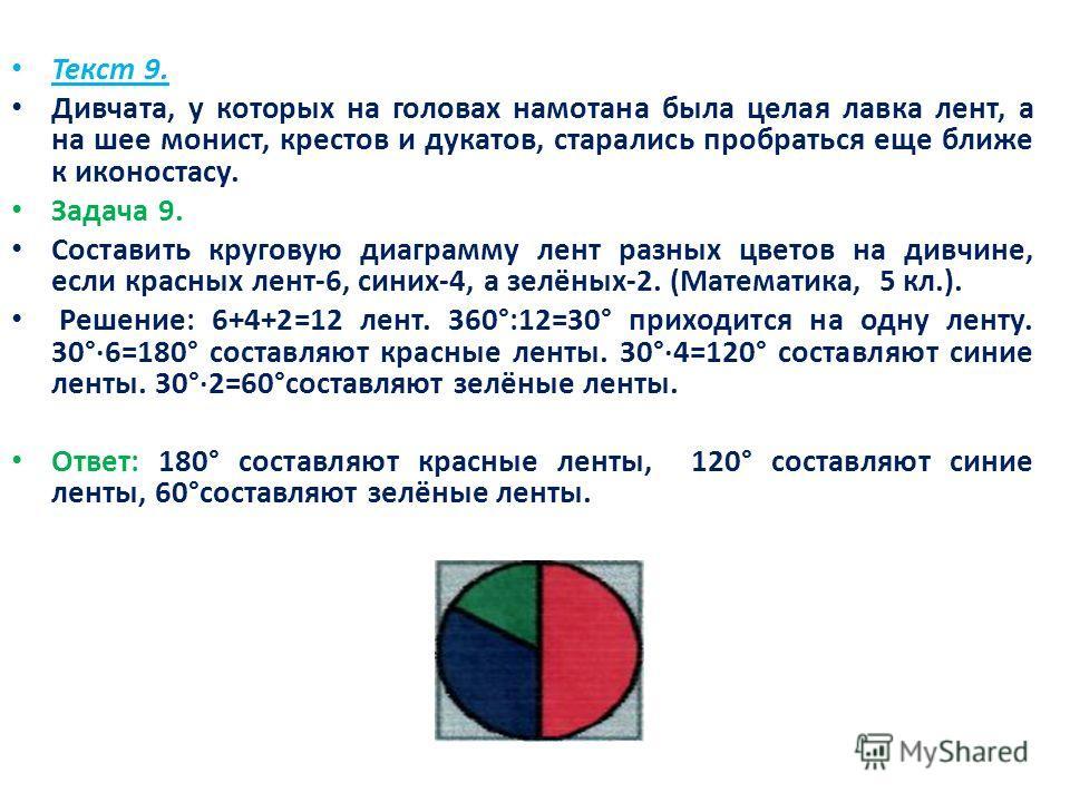 Текст 9. Дивчата, у которых на головах намотана была целая лавка лент, а на шее монист, крестов и дукатов, старались пробраться еще ближе к иконостасу. Задача 9. Составить круговую диаграмму лент разных цветов на дивчине, если красных лент-6, синих-4