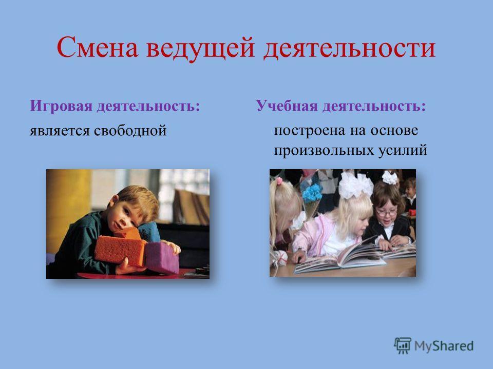 Смена ведущей деятельности Игровая деятельность: является свободной Учебная деятельность: построена на основе произвольных усилий