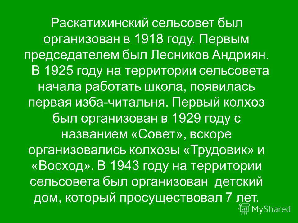 Раскатихинский сельсовет был организован в 1918 году. Первым председателем был Лесников Андриян. В 1925 году на территории сельсовета начала работать школа, появилась первая изба-читальня. Первый колхоз был организован в 1929 году с названием «Совет»