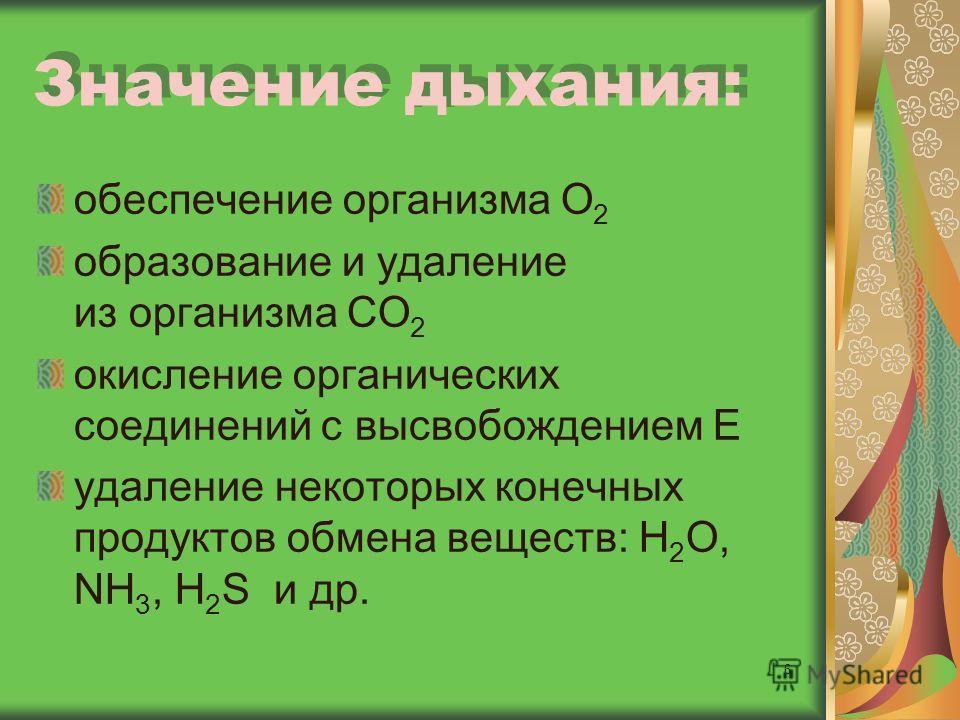 6 Значение дыхания: обеспечение организма О 2 образование и удаление из организма СО 2 окисление органических соединений с высвобождением Е удаление некоторых конечных продуктов обмена веществ: Н 2 О, NH 3, H 2 S и др.
