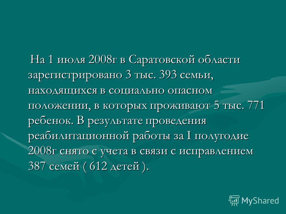 На 1 июля 2008г в Саратовской области зарегистрировано 3 тыс. 393 семьи, находящихся в социально опасном положении, в которых проживают 5 тыс. 771 ребенок. В результате проведения реабилитационной работы за I полугодие 2008г снято с учета в связи с и
