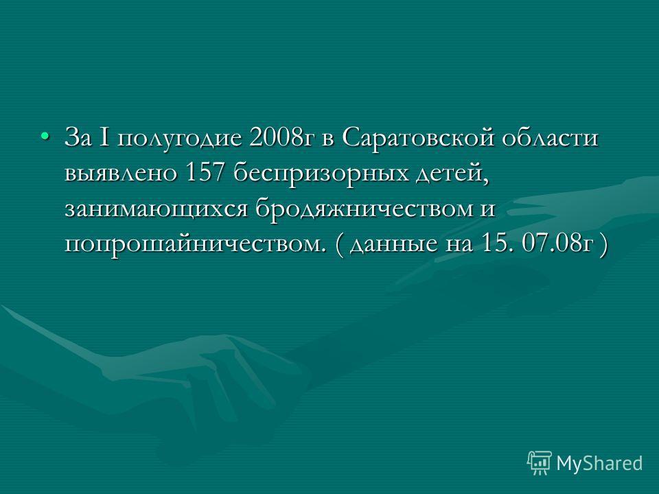 За I полугодие 2008г в Саратовской области выявлено 157 беспризорных детей, занимающихся бродяжничеством и попрошайничеством. ( данные на 15. 07.08г )За I полугодие 2008г в Саратовской области выявлено 157 беспризорных детей, занимающихся бродяжничес