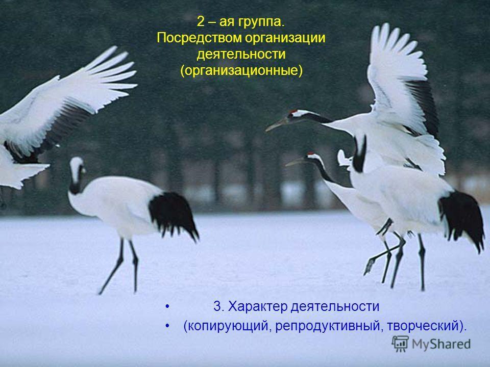 2 – ая группа. Посредством организации деятельности (организационные) 3. Характер деятельности (копирующий, репродуктивный, творческий).