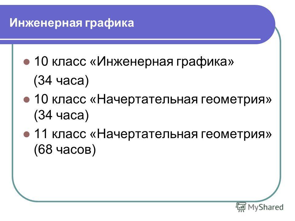 Инженерная графика 10 класс «Инженерная графика» (34 часа) 10 класс «Начертательная геометрия» (34 часа) 11 класс «Начертательная геометрия» (68 часов)