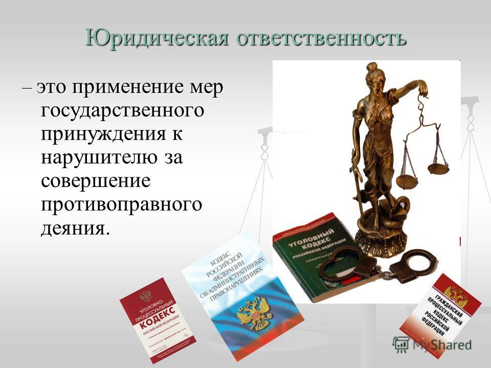 Юридическая ответственность – это применение мер государственного принуждения к нарушителю за совершение противоправного деяния.