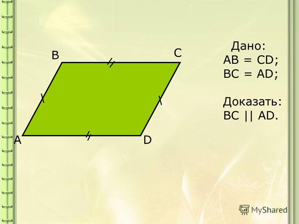A B C D Дано: AB = CD; BC = AD; Доказать: BC || AD.