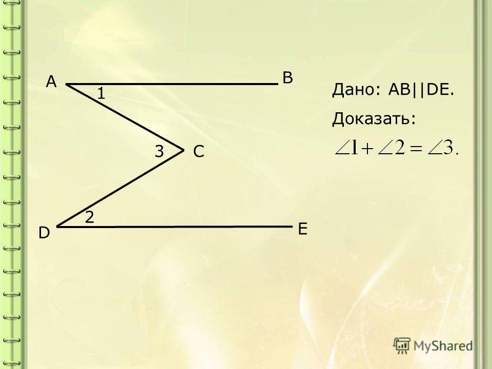 A B C D E 1 3 2 Дано: AB||DE. Доказать:
