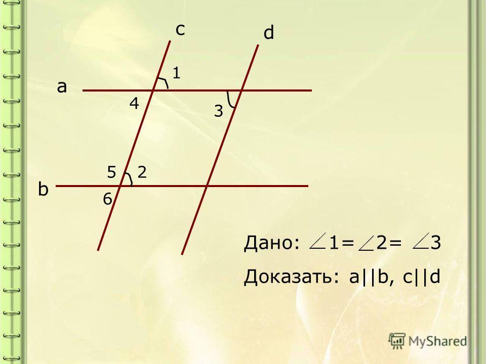 a b c d 1 4 3 52 6 Дано: 1= 2= 3 Доказать: a||b, c||d