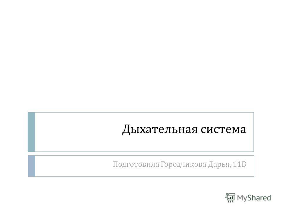 Дыхательная система Подготовила Городчикова Дарья, 11 В