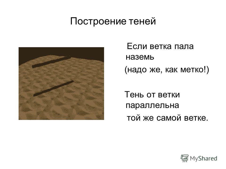 Построение теней Если ветка пала наземь (надо же, как метко!) Тень от ветки параллельна той же самой ветке.