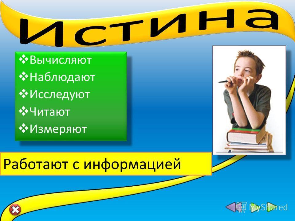 Вычисляют Наблюдают Исследуют Читают Измеряют Вычисляют Наблюдают Исследуют Читают Измеряют Работают с информацией