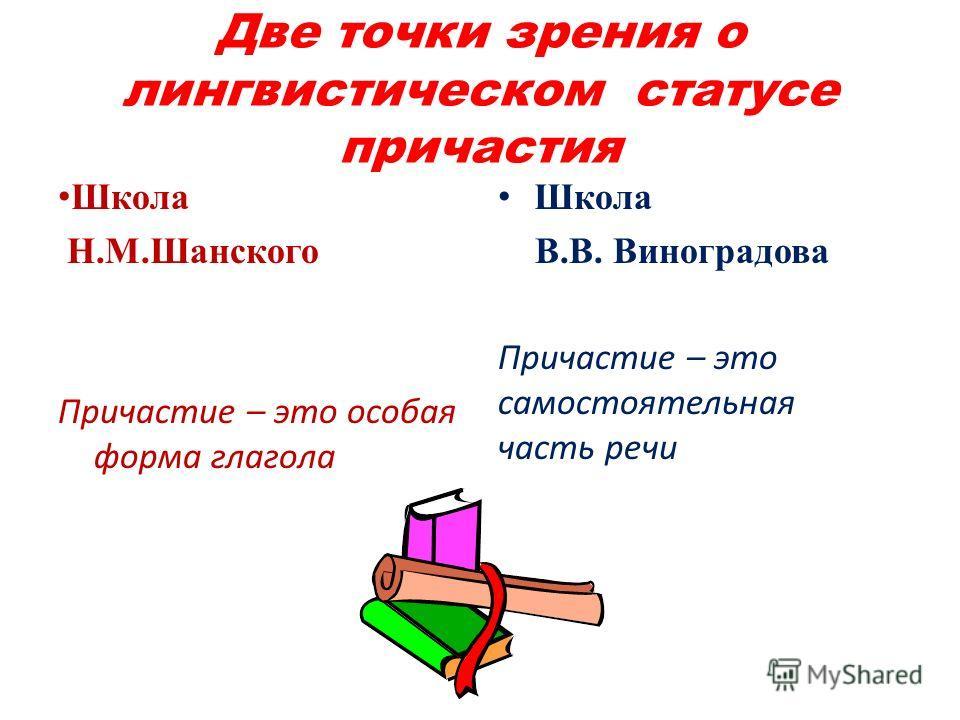 Две точки зрения о лингвистическом статусе причастия Школа Н.М.Шанского Причастие – это особая форма глагола Школа В.В. Виноградова Причастие – это самостоятельная часть речи