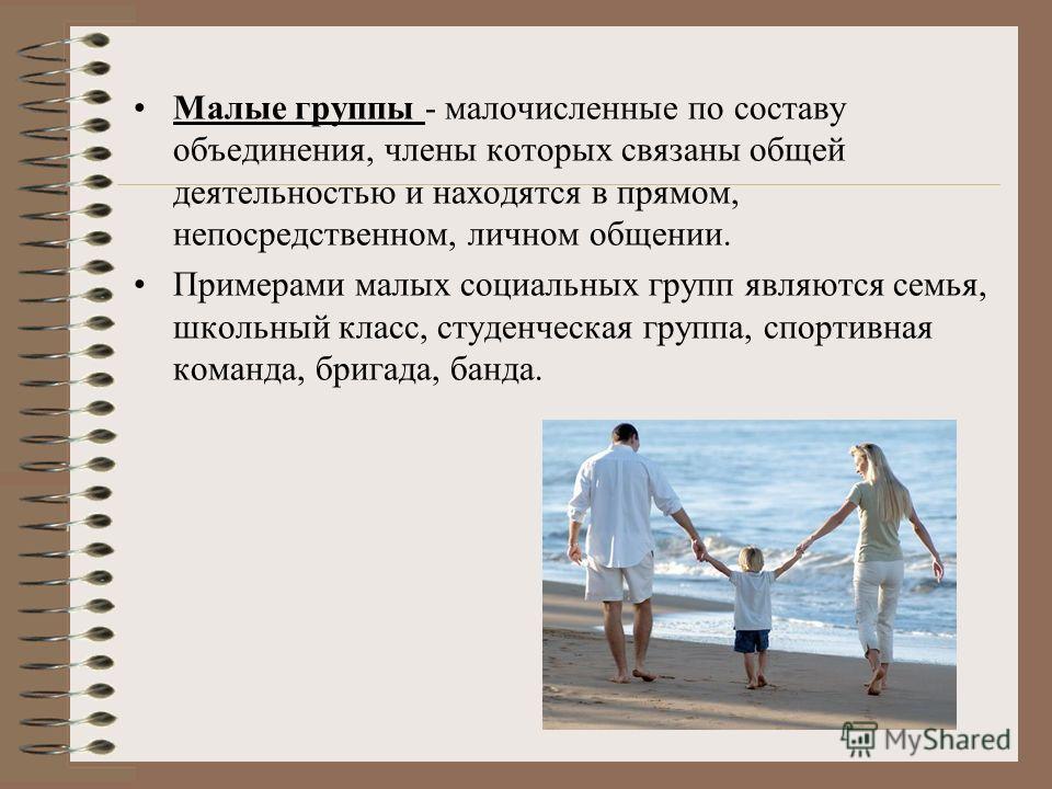Малые группы - малочисленные по составу объединения, члены которых связаны общей деятельностью и находятся в прямом, непосредственном, личном общении. Примерами малых социальных групп являются семья, школьный класс, студенческая группа, спортивная ко