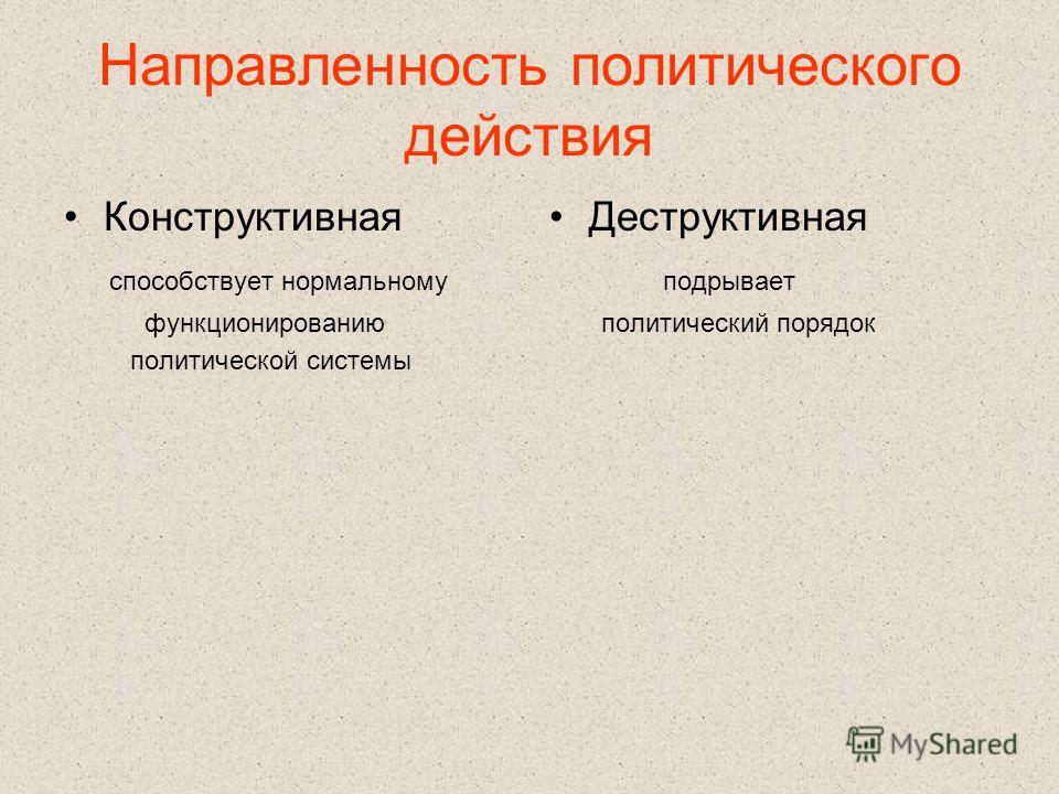 Направленность политического действия Конструктивная способствует нормальному функционированию политической системы Деструктивная подрывает политический порядок
