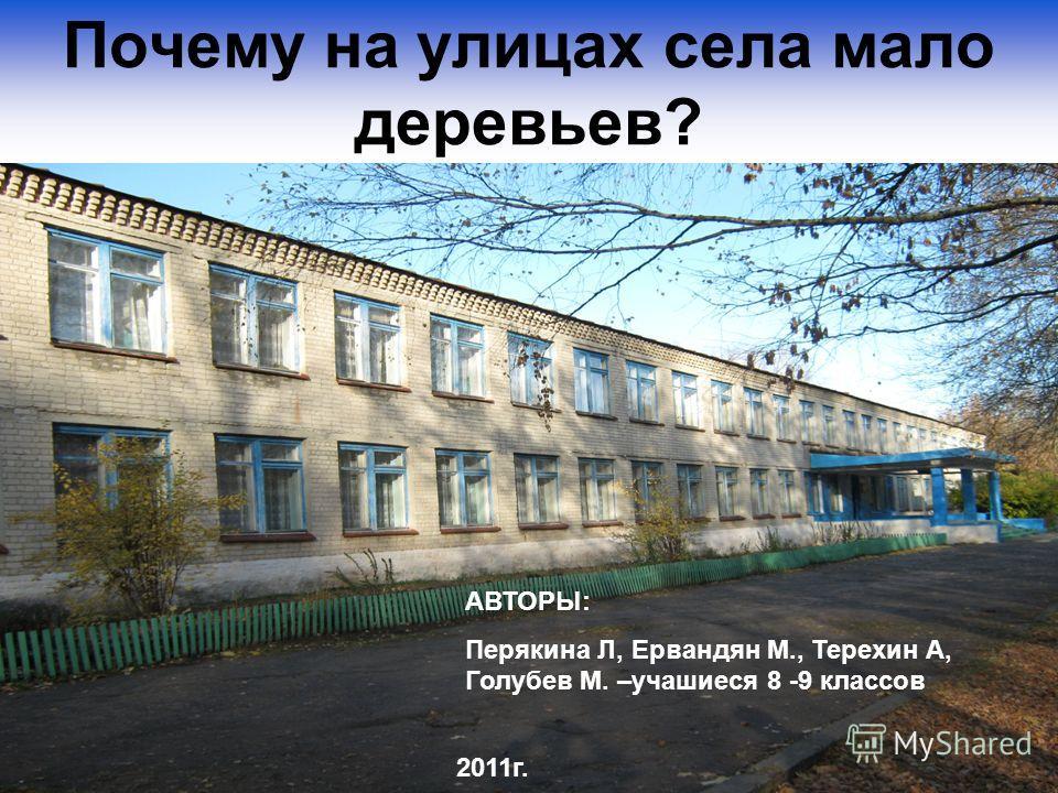 Почему на улицах села мало деревьев? АВТОРЫ: Перякина Л, Ервандян М., Терехин А, Голубев М. –учашиеся 8 -9 классов 2011г.
