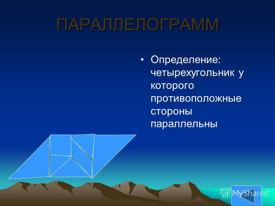ПАРАЛЛЕЛОГРАММ Определение: четырехугольник у которого противоположные стороны параллельны