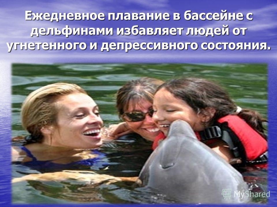 Ежедневное плавание в бассейне с дельфинами избавляет людей от угнетенного и депрессивного состояния.