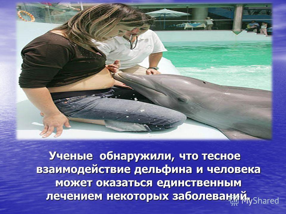 Ученые обнаружили, что тесное взаимодействие дельфина и человека может оказаться единственным лечением некоторых заболеваний.