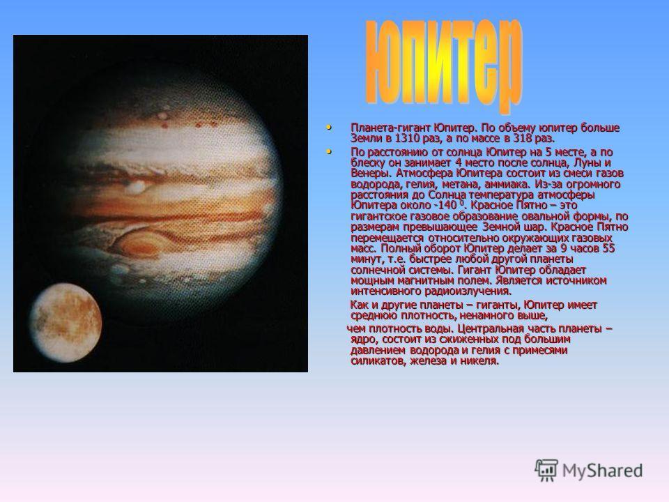 Планета-гигант Юпитер. По объему юпитер больше Земли в 1310 раз, а по массе в 318 раз. Планета-гигант Юпитер. По объему юпитер больше Земли в 1310 раз, а по массе в 318 раз. По расстоянию от солнца Юпитер на 5 месте, а по блеску он занимает 4 место п