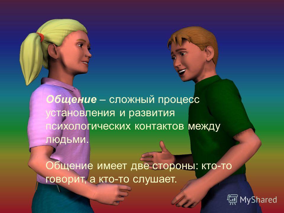 Общение – сложный процесс установления и развития психологических контактов между людьми. Общение имеет две стороны: кто-то говорит, а кто-то слушает.