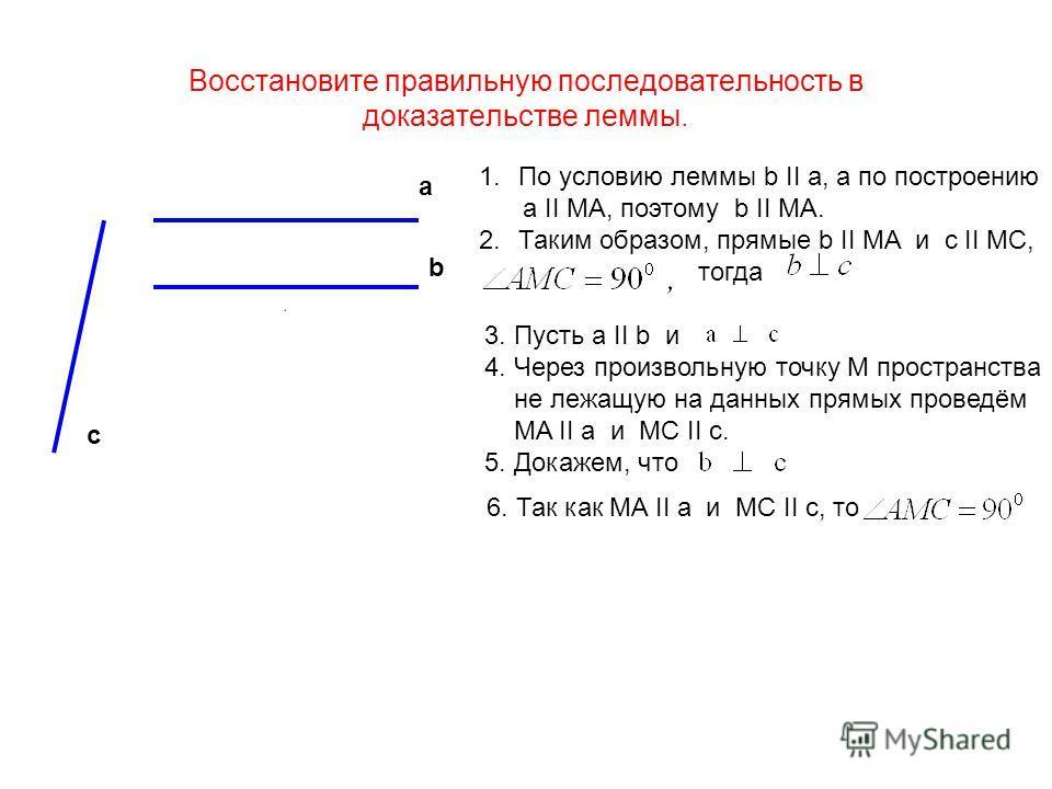 Восстановите правильную последовательность в доказательстве леммы. a b c 1.По условию леммы b II a, а по построению a II MA, поэтому b II MA. 2.Таким образом, прямые b II MA и c II MC, тогда 3. Пусть a II b и 4. Через произвольную точку M пространств