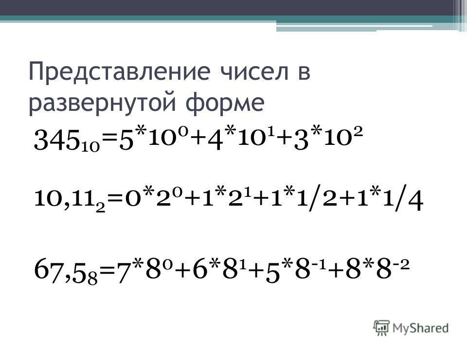 Представление чисел в развернутой форме 345 10 =5*10 0 +4*10 1 +3*10 2 10,11 2 =0*2 0 +1*2 1 +1*1/2+1*1/4 67,5 8 =7*8 0 +6*8 1 +5*8 -1 +8*8 -2