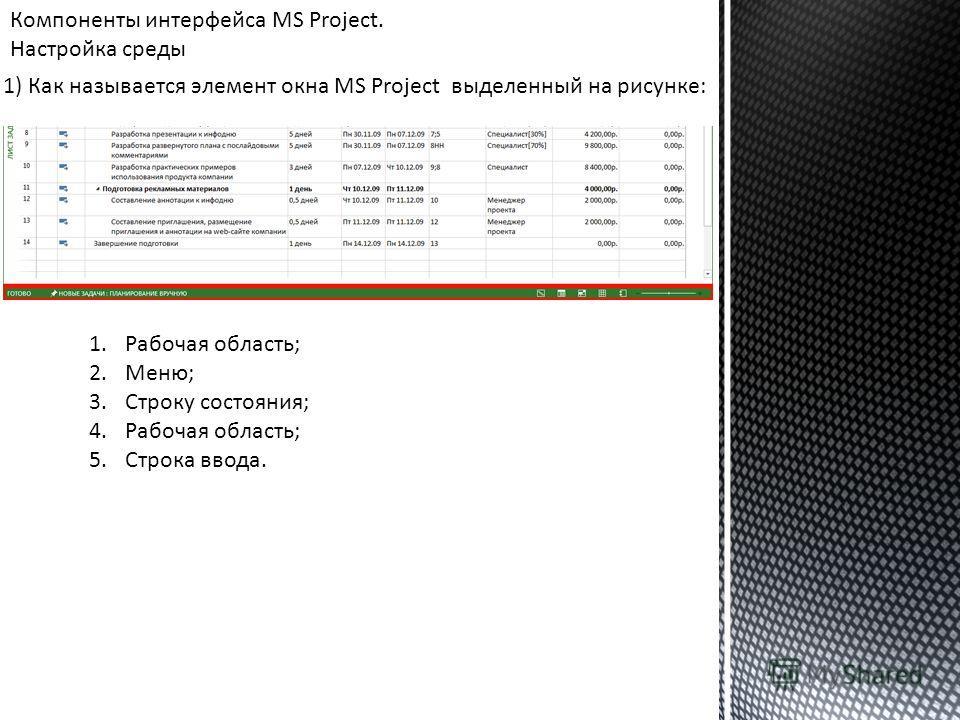 Компоненты интерфейса MS Project. Настройка среды 1) Как называется элемент окна MS Project выделенный на рисунке: 1.Рабочая область; 2.Меню; 3.Строку состояния; 4.Рабочая область; 5.Строка ввода.