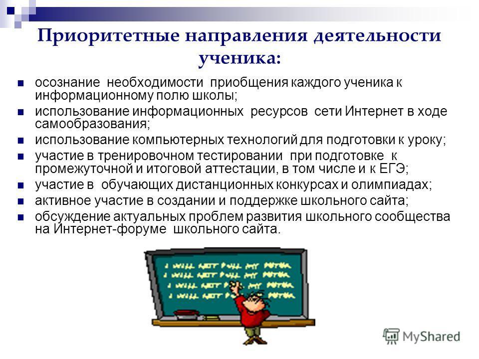 Приоритетные направления деятельности ученика: осознание необходимости приобщения каждого ученика к информационному полю школы; использование информационных ресурсов сети Интернет в ходе самообразования; использование компьютерных технологий для подг