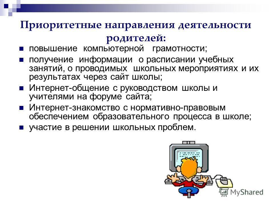 Приоритетные направления деятельности родителей: повышение компьютерной грамотности; получение информации о расписании учебных занятий, о проводимых школьных мероприятиях и их результатах через сайт школы; Интернет-общение с руководством школы и учит
