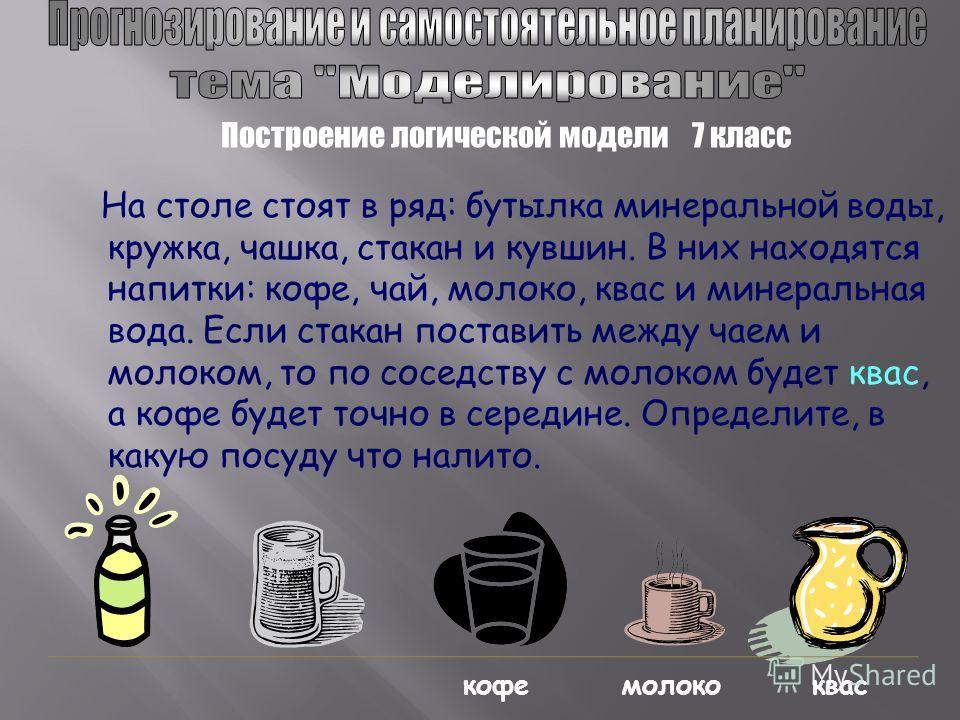 На столе стоят в ряд: бутылка минеральной воды, кружка, чашка, стакан и кувшин. В них находятся напитки: кофе, чай, молоко, квас и минеральная вода. Если стакан поставить между чаем и молоком, то по соседству с молоком будет квас, а кофе будет точно