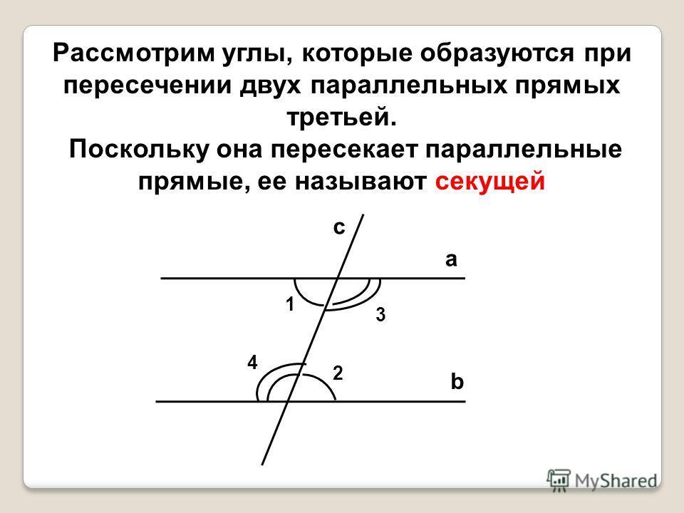Рассмотрим углы, которые образуются при пересечении двух параллельных прямых третьей. Поскольку она пересекает параллельные прямые, ее называют секущей a b c 1 4 3 2