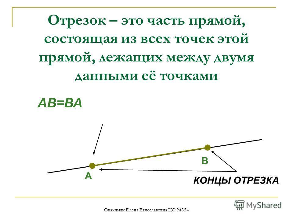 Отрезок – это часть прямой, состоящая из всех точек этой прямой, лежащих между двумя данными её точками КОНЦЫ ОТРЕЗКА АВ=ВА А В